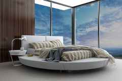 Exklusives Schlafzimmer des modernen Entwurfs mit Vogelperspektive Stockbild