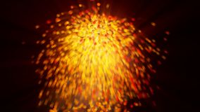 Exlplosion of glowing orange spheres with motion blur stock images