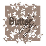Exlusive brown text butterfly on background Stock Image