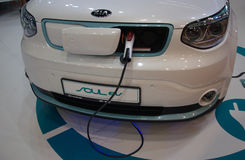 Exlusive KIA Soul EV Electric Car at the Belgrade Motor Show Royalty Free Stock Photography