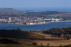 Exmouth bathed in sunshine. View of Exmouth bathed in sunshine. Taken from Haldon Hill, Devon Royalty Free Stock Photos