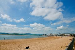 Relaxing in Devon. Exmouth beach Devon England united kingdom royalty free stock images