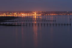 Exmouth at Night. Distant view of Exmouth (Devon) at night. Taken from Dawlish Warren Stock Images