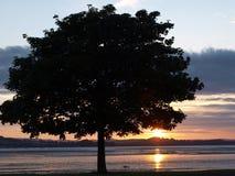 Exmouth-Sonnenuntergang durch den Strand in Devon Lizenzfreies Stockfoto