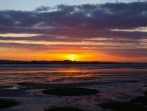 Exmouth zmierzch plażą w Devon zdjęcie royalty free