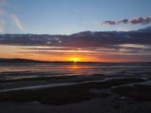 Exmouthzonsondergang door het strand in Devon Royalty-vrije Stock Foto