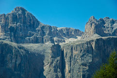 Exner tower, Sella Group - Dolomites. Sella Group and Exner Tower, Dolomites - Italy Royalty Free Stock Images
