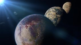 Exo planets lit by an alien sun 3d illustration, elements of this image are furnished by NASA. Habitable alien planets, a distant star system Stock Image
