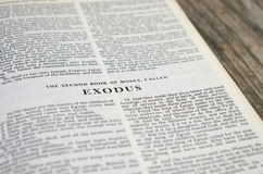 Exodus Bible Page. Title page for the book of Exodus in the Bible Stock Image