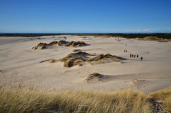 Exodus. People moving in sand dunes Stock Photography