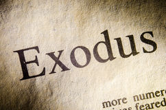 Exodus text header. Exodus text header of page from Bible Stock Images