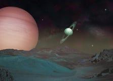 Exomoon и exoplanet в глубоком космосе Стоковое Изображение