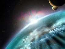 Exoplanet. Imaginary vision of an exoplanet with possible life Stock Photo
