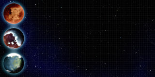 Exoplanet bullet points. Bullet points of planets on stars background Stock Image