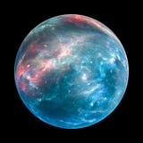 Exoplanet coloré insolated sur le noir Image stock