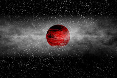 Red Exoplanet. Exoplanet: Early Stage of its Evolution Royalty Free Stock Photos