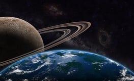 Exoplanet и exomoon Стоковые Изображения RF