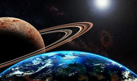 Exoplanet and exomoon Stock Image