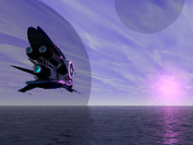 Exoplanet Exploration. Fantasy and Surreal Landscape. 3D Rendered Stock Photography