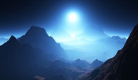 Exoplanet or extrasolar planet landscape with atmosphere. 3D illustration Stock Photos