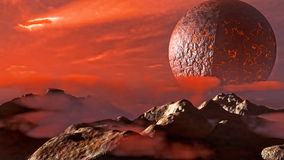 Exoplanet fantastic landscape. Beautiful views of the mountains and sky with unexplored planets. 3D illustration Stock Photography