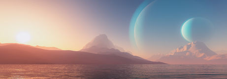 Exoplanet fantastic landscape Royalty Free Stock Photography