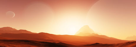 Exoplanet fantastic landscape. Beautiful views of the mountains and sky with unexplored planets. 3D illustration Royalty Free Stock Photos