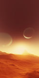 Exoplanet fantastic landscape. Beautiful views of the mountains and sky with unexplored planets. 3D illustration Stock Image