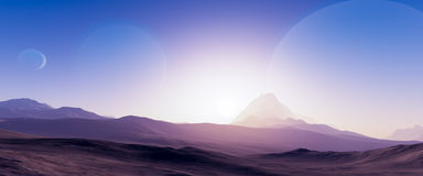 Exoplanet fantastic landscape Royalty Free Stock Photos