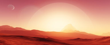 Exoplanet fantastic landscape. Beautiful views of the mountains and sky with unexplored planets. 3D illustration Royalty Free Stock Image