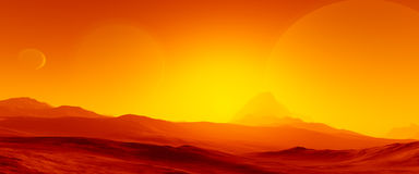 Exoplanet fantastic landscape Royalty Free Stock Photo