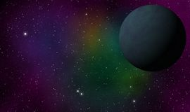 Exoplanet i djup galaxdesignbakgrund Royaltyfri Foto