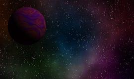 Exoplanet i djup universumbakgrundsdesign Royaltyfria Foton