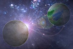 Exoplanet illustration, two alien planets Royalty Free Stock Photo