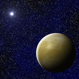 Exoplanet with star. Imaginary Exoplanet with star in the far universe Stock Image