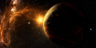 Exoplanet utforskning - fantasi stock illustrationer