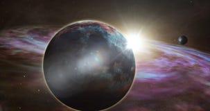 Exoplanet wschód słońca i kosmos eksploracja ilustracja wektor