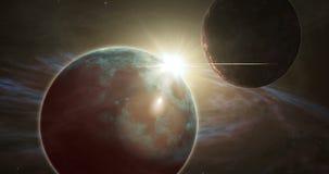 Exoplanet wschód słońca i odległa kosmos eksploracja ilustracji