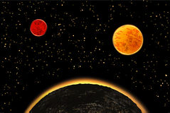 Exoplanets ή extrasolar πλανήτες επίσης corel σύρετε το διάνυσμα απεικόνισης Στοκ εικόνες με δικαίωμα ελεύθερης χρήσης
