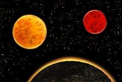 Exoplanets ή extrasolar πλανήτες επίσης corel σύρετε το διάνυσμα απεικόνισης Στοκ φωτογραφία με δικαίωμα ελεύθερης χρήσης