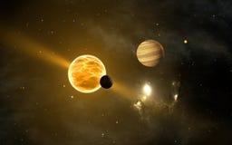 Exoplanets или внесолнечные планеты иллюстрация вектора