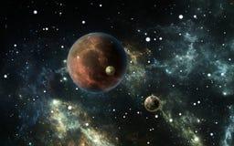 Exoplanets of Extrasolar-planeten met sterren op achtergrondnevel vector illustratie