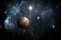 Exoplanets of Extrasolar-planeten met sterren op achtergrondnevel royalty-vrije illustratie