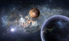 Exoplanets or Extrasolar planets with stars on background nebula. 3D illustration Stock Image