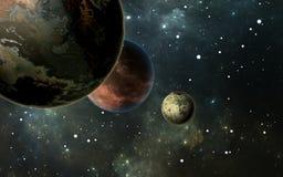 Exoplanets or Extrasolar planets with stars on background nebula. 3D illustration Stock Photography