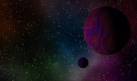 Exoplanets i djup galaxdesignbakgrund Arkivbild