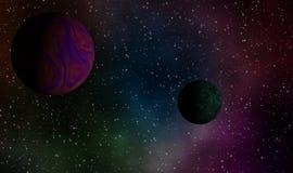 Exoplanets i djup universumdesignbakgrund Royaltyfria Bilder