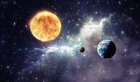 Exoplanets ou planètes Extrasolar sur la nébuleuse de fond Images libres de droits