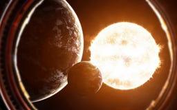 Exoplanets på bakgrund av den röda jätte- stjärnan Sikt från hyttventil för rymdskepp` s Beståndsdelar av bilden möbleras av NASA vektor illustrationer