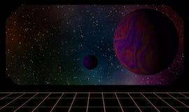 Exoplanets sikter från inre av rymdskeppet Royaltyfri Fotografi